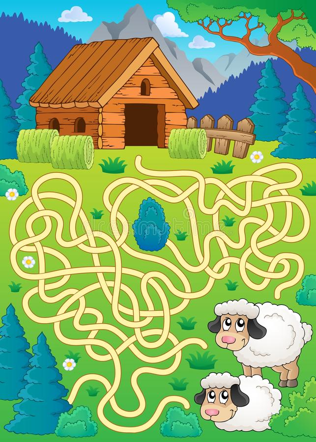 Maze 30 with sheep theme stock illustration