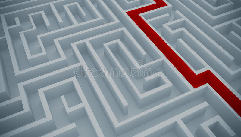 Maze solution vector illustration