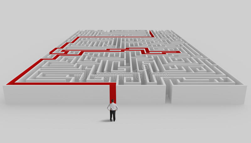 Maze and solution. Businessman in front of a maze with solution stock illustration