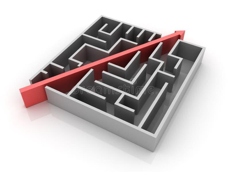 Maze Solution. Three dimensional illustration of Maze with Solution Path stock illustration