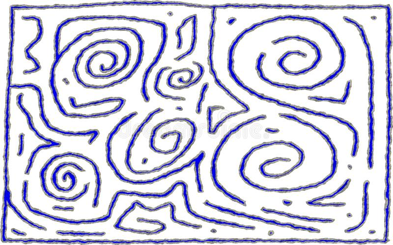 Maze style number 6 rough design for background or foreground use vector illustration