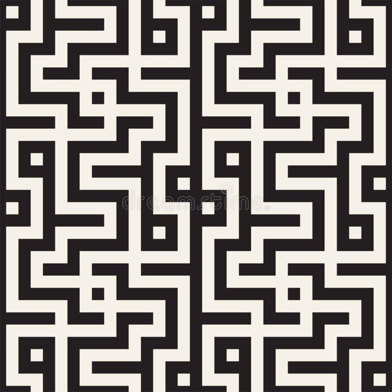 Maze Tangled Lines Contemporary Graphic Abstrakter geometrischer Hintergrund Entwurf Vector nahtloses Muster lizenzfreie abbildung