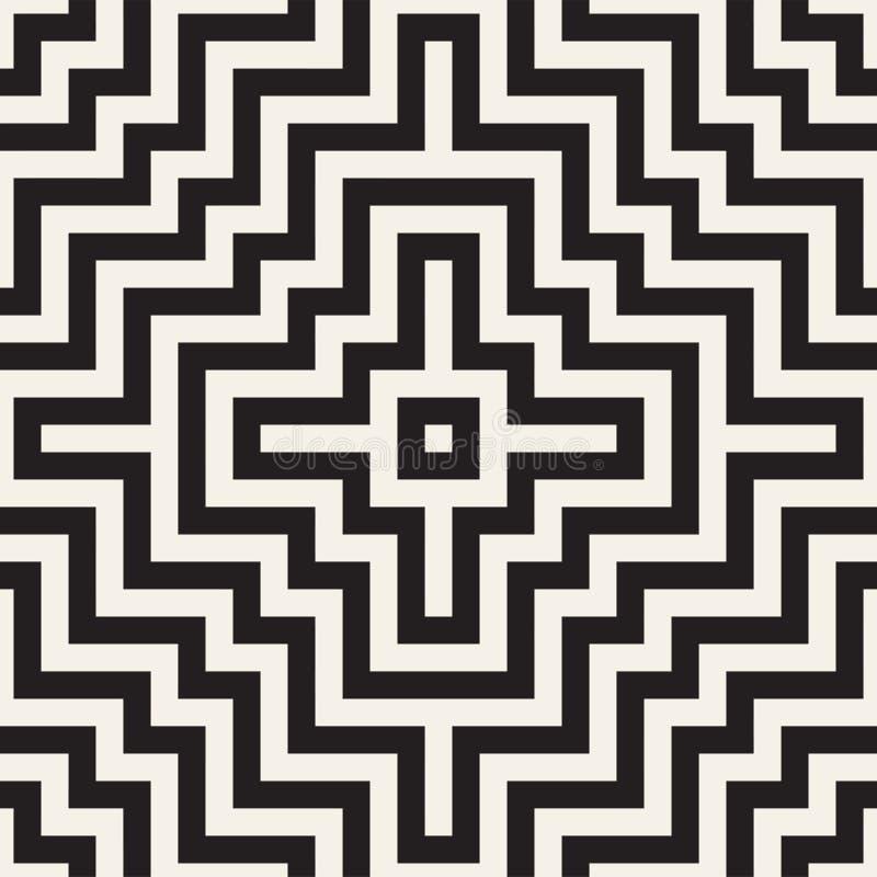 Maze Tangled Lines Contemporary Graphic Abstrakter geometrischer Hintergrund Entwurf Vector nahtloses Muster vektor abbildung