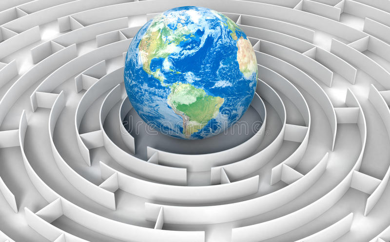 Download Maze to globe stock illustration. Image of dimensional - 34030181