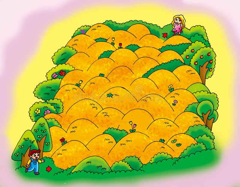 Download Hills maze stock illustration. Image of flowers, yellow - 29907825
