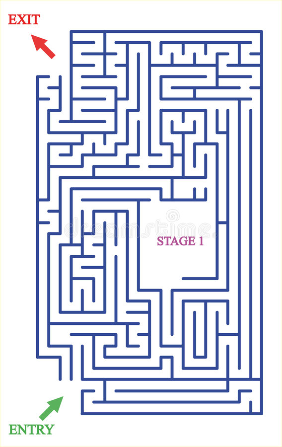 Maze with two entries and one stage royalty free stock photos