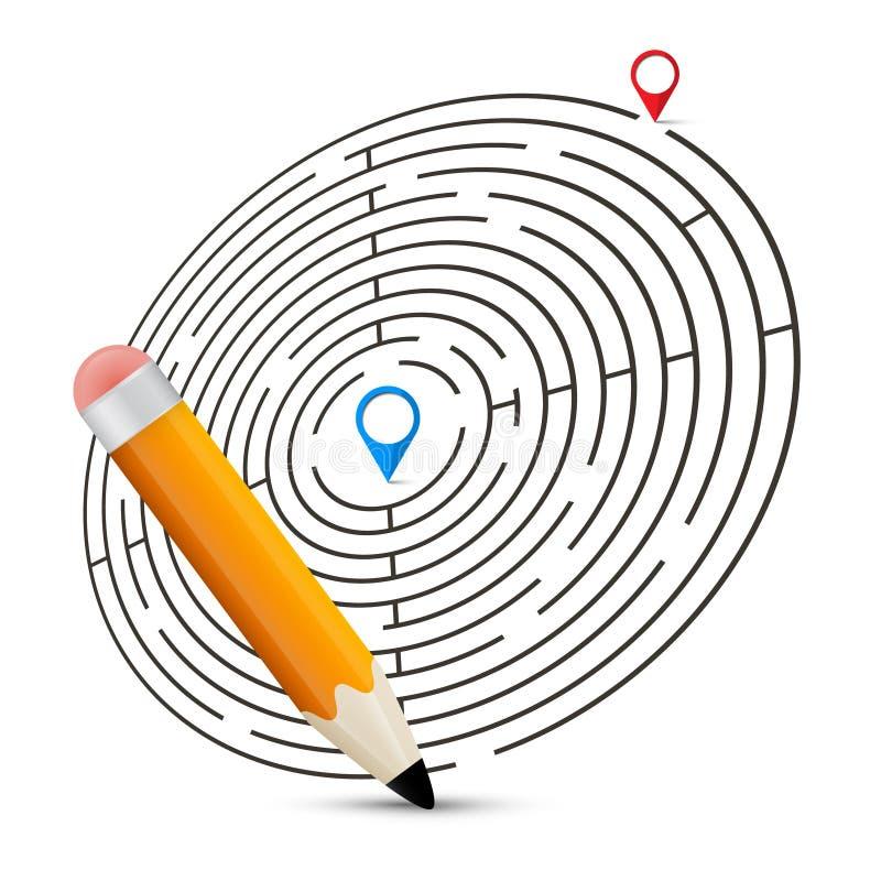 Maze Vector Illustration mit Aufklebern lizenzfreie abbildung