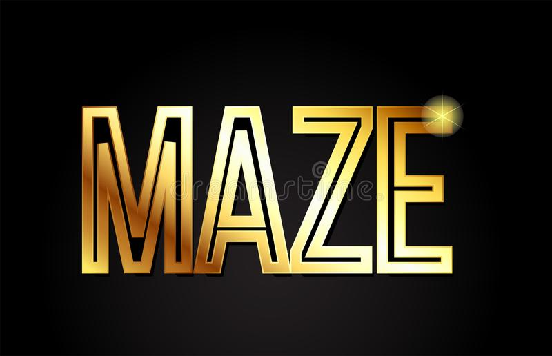 Maze word text typography gold golden design logo icon. Maze word typography design in gold or golden color suitable for logo, banner or text design royalty free illustration