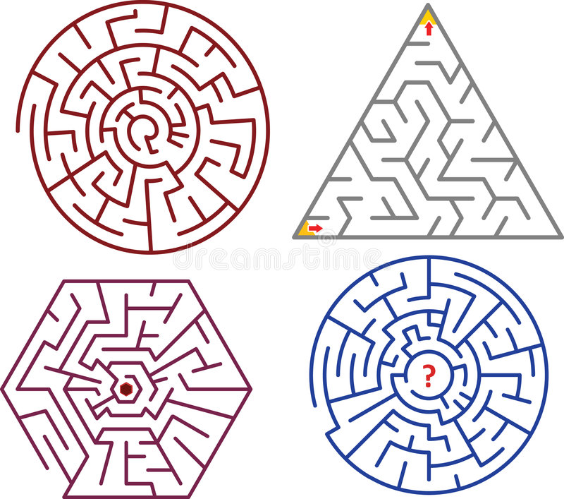 Download Mazes collections stock illustration. Image of cirle, hexagon - 9295497