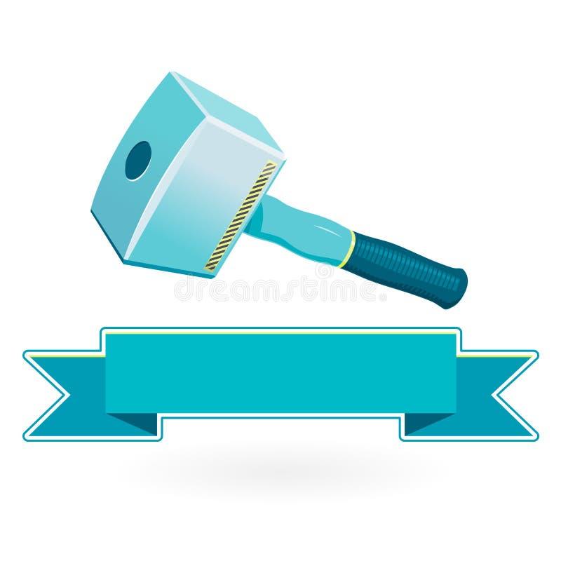 Mazo azul grande clásico agradable en blanco, martillo robusto masivo del carpintero stock de ilustración