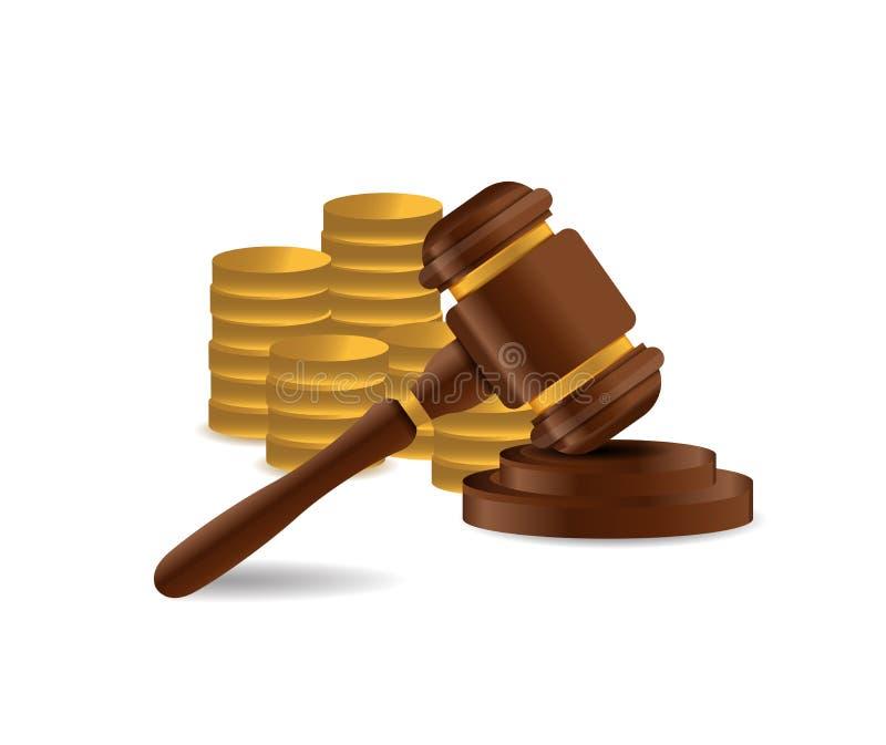 mazo de madera 3d Juez, ley, concepto de la subasta ilustración del vector