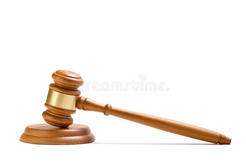Mazo de madera del juez aislado en el fondo blanco fotos de archivo libres de regalías