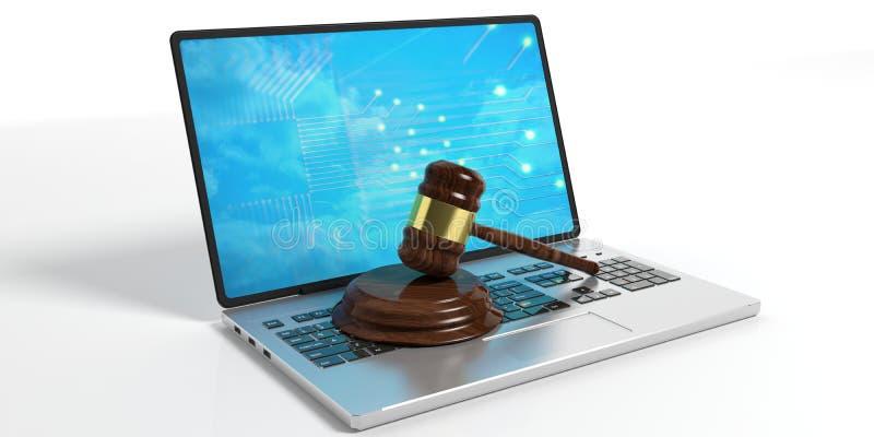 Mazo de madera del juez o de la subasta y un ordenador portátil en el fondo blanco ilustración 3D libre illustration