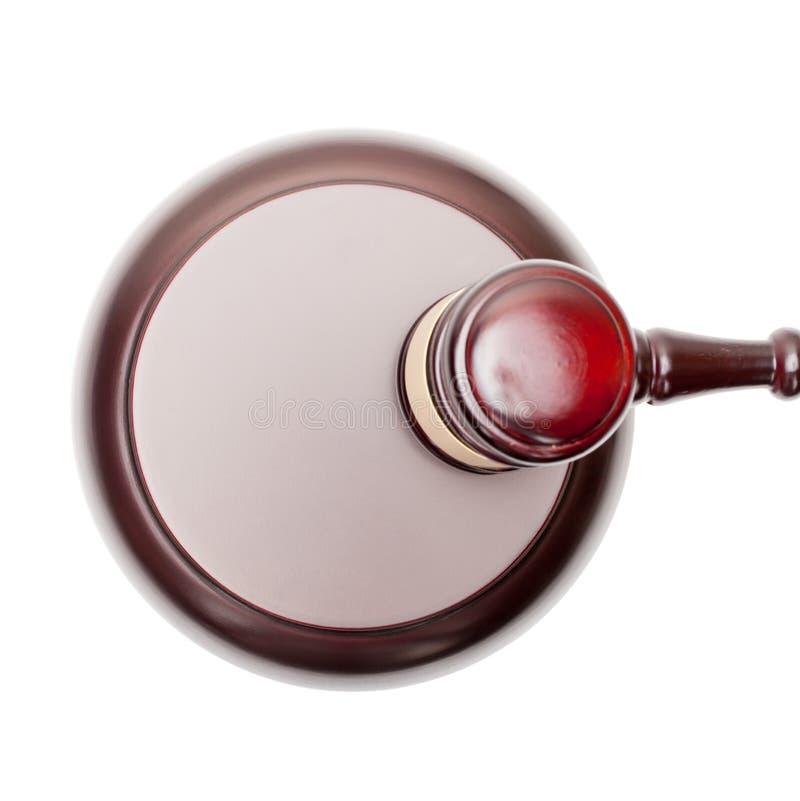 Mazo de madera del juez sobre la caja de sonidos - visión desde el top imagen de archivo libre de regalías