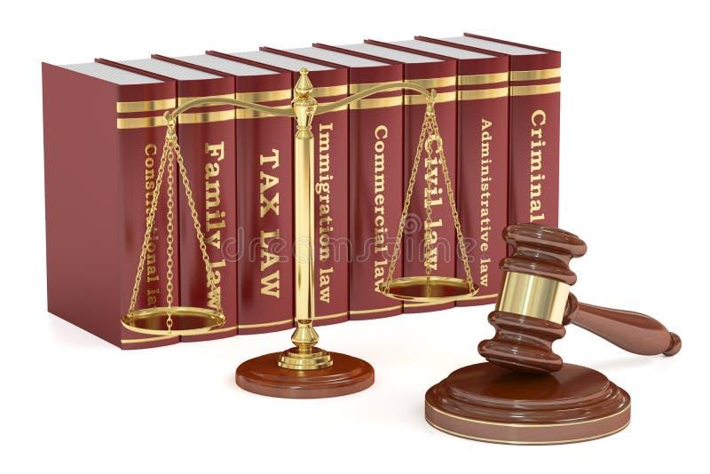 Mazo de madera, libros bajos y escalas de oro de la justicia Justicia co stock de ilustración