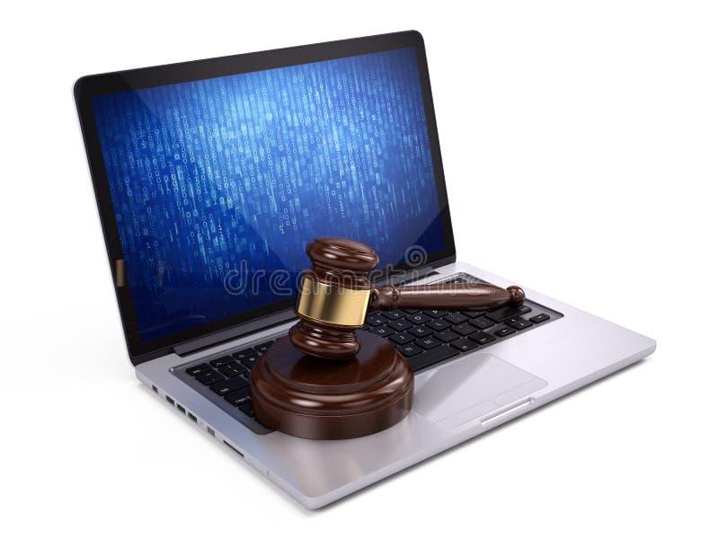 Mazo de oro del juez en el ordenador portátil ilustración del vector