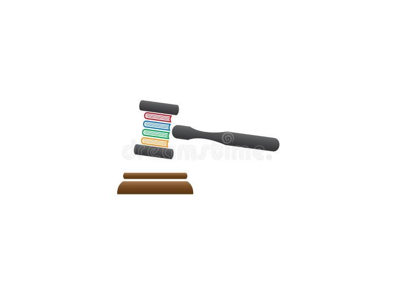 Mazo del juez o martillo de madera de la subasta con la ley del libro para el diseño del logotipo ilustración del vector