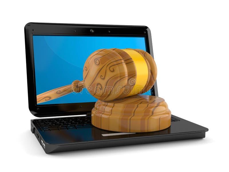 Mazo dentro del ordenador portátil ilustración del vector