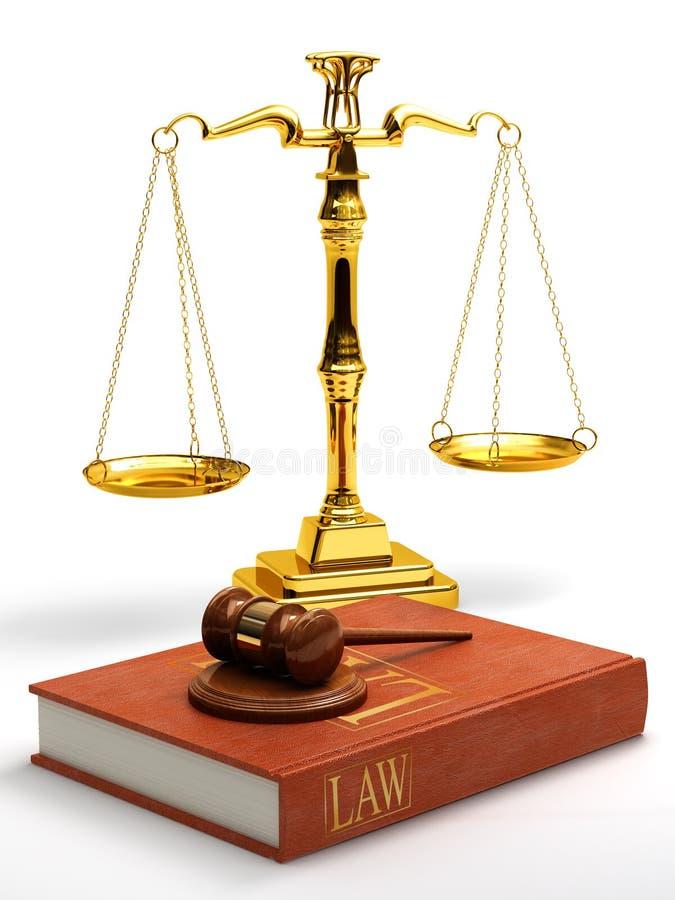 Mazo, escalas y libro de ley ilustración del vector