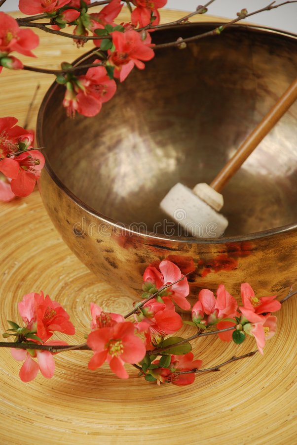 Mazo tibetano del tazón de fuente del canto fotografía de archivo