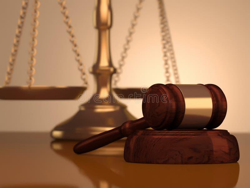 Mazo y escala de la justicia ilustración del vector
