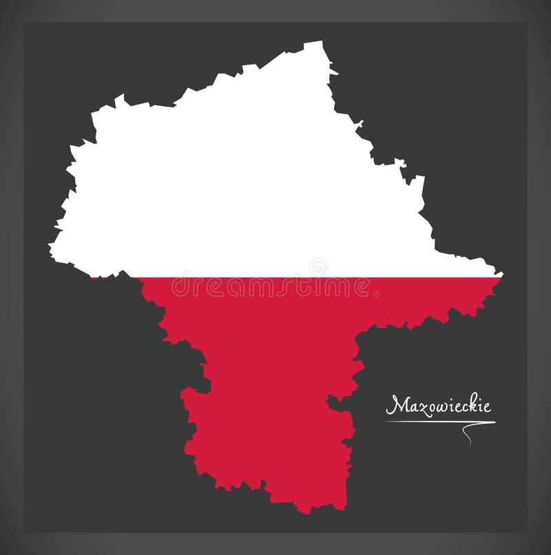 Mazowieckie map of Poland with Polish national flag illustration. Mazowieckie map of Poland with Polish national flag stock illustration