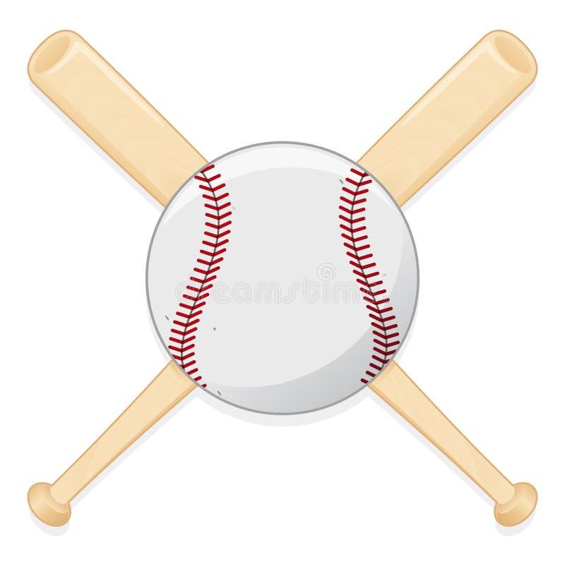 Mazza da baseball e sfera illustrazione di stock