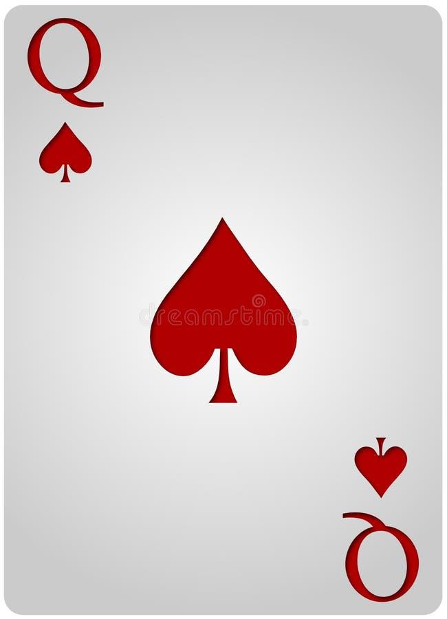 Mazza delle vanghe della carta della regina royalty illustrazione gratis