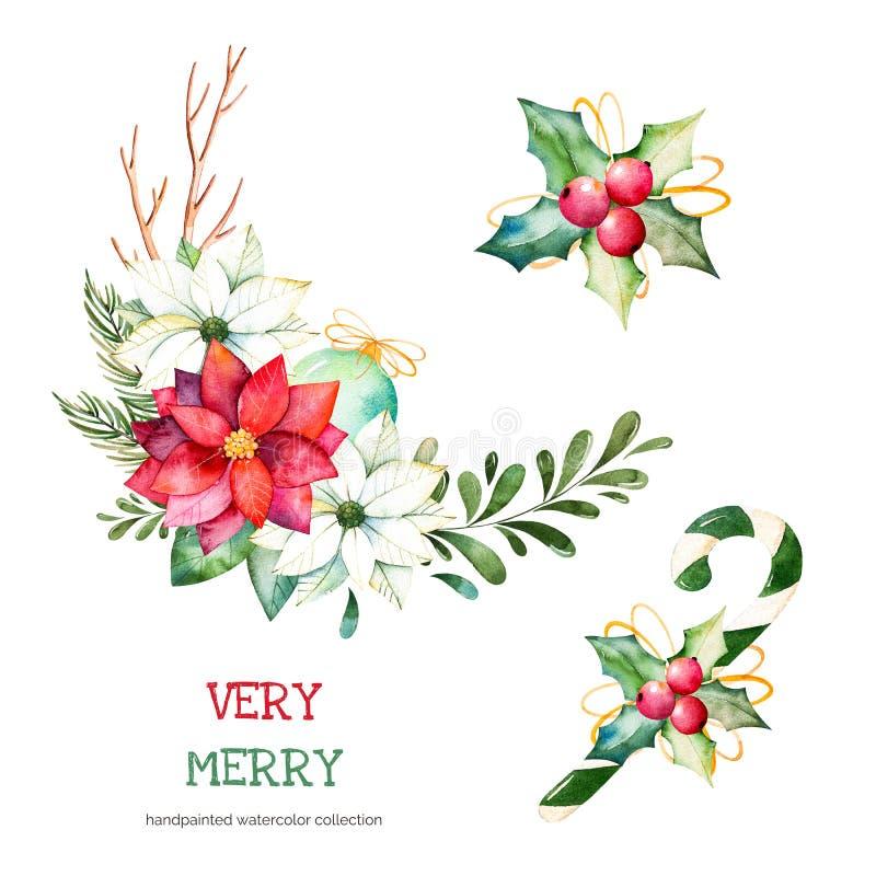 3 mazzi con le foglie, i rami, le palle di Natale, le bacche, l'agrifoglio, i pinecones, stella di Natale fiorisce illustrazione vettoriale