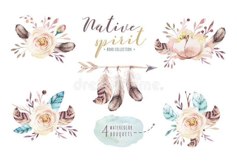 Mazzi dei fiori dell'acquerello messi con le piume Stampa organica di progettazione della piuma di colore acquerello Illustrazion royalty illustrazione gratis