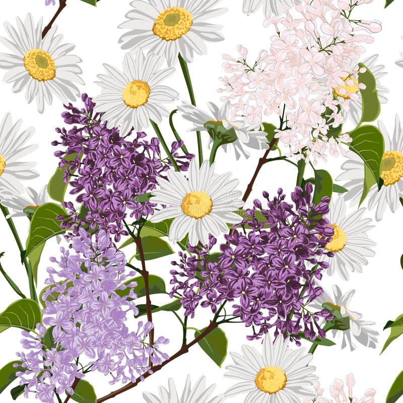 Mazzi della primavera sui precedenti bianchi Modello senza cuciture con i fiori delicati illustrazione di stock