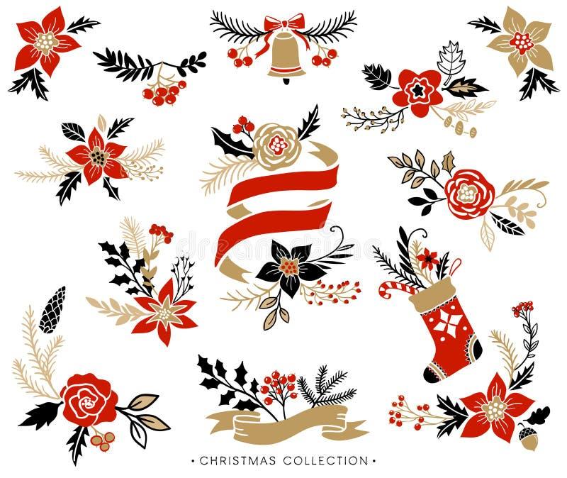 Mazzi di Natale, corone e disposizioni floreali illustrazione di stock