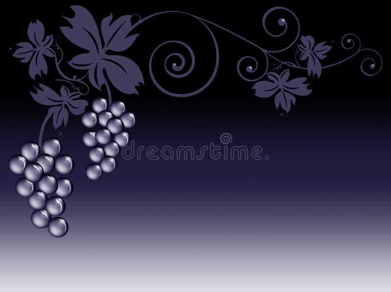 Mazzi di uva e di fogli illustrazione di stock