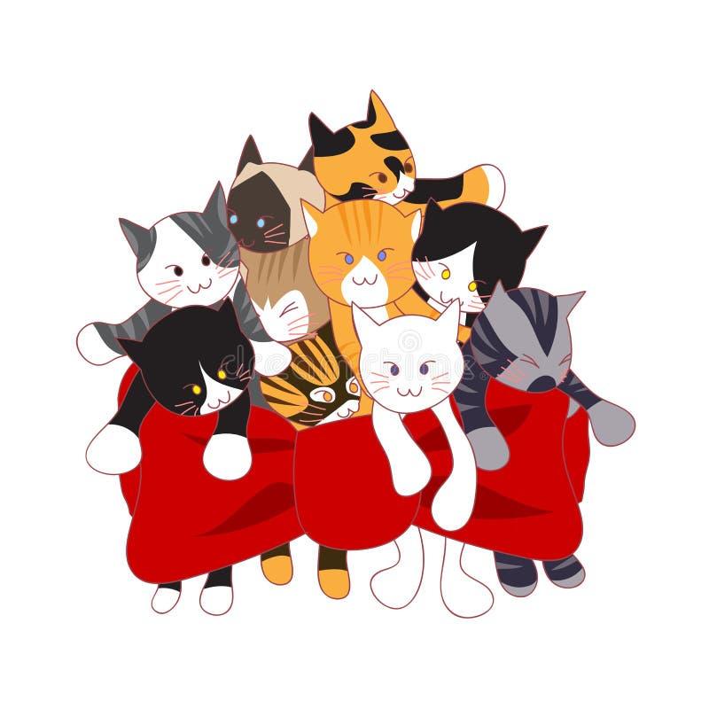 Mazzo adorabile dei gatti come presente Illustrazione di vettore Isolato su priorità bassa bianca royalty illustrazione gratis