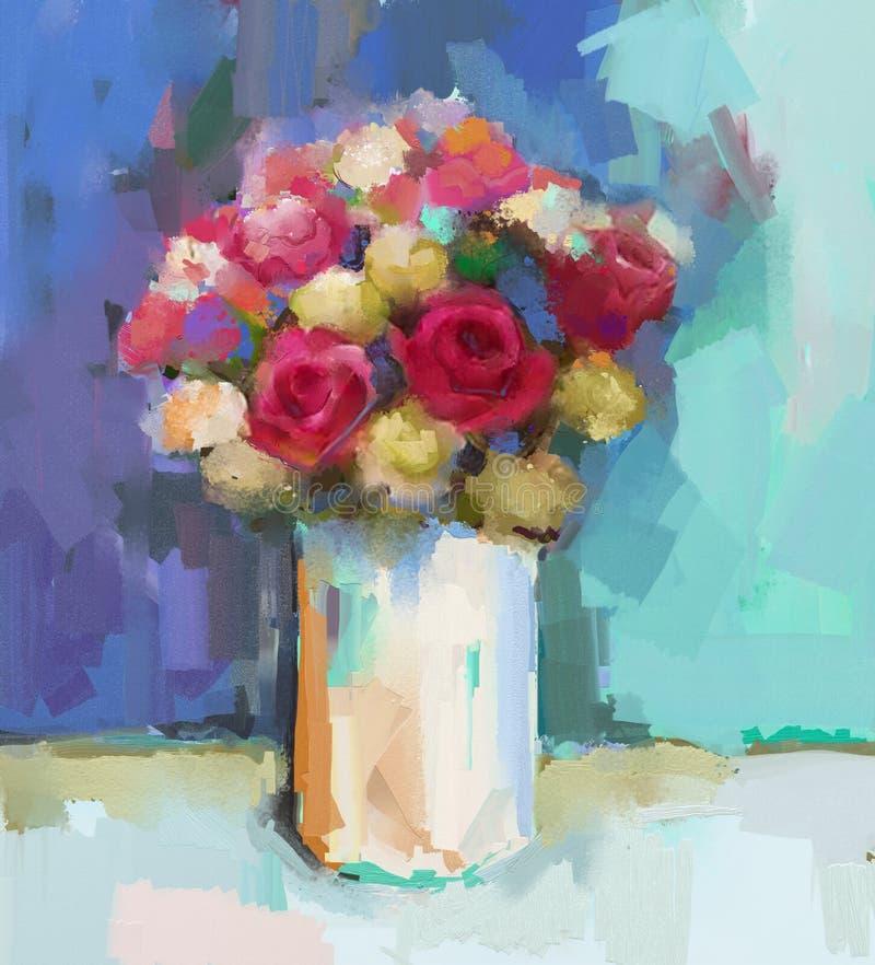 Mazzo astratto di natura morta dei fiori Pittura a olio illustrazione di stock