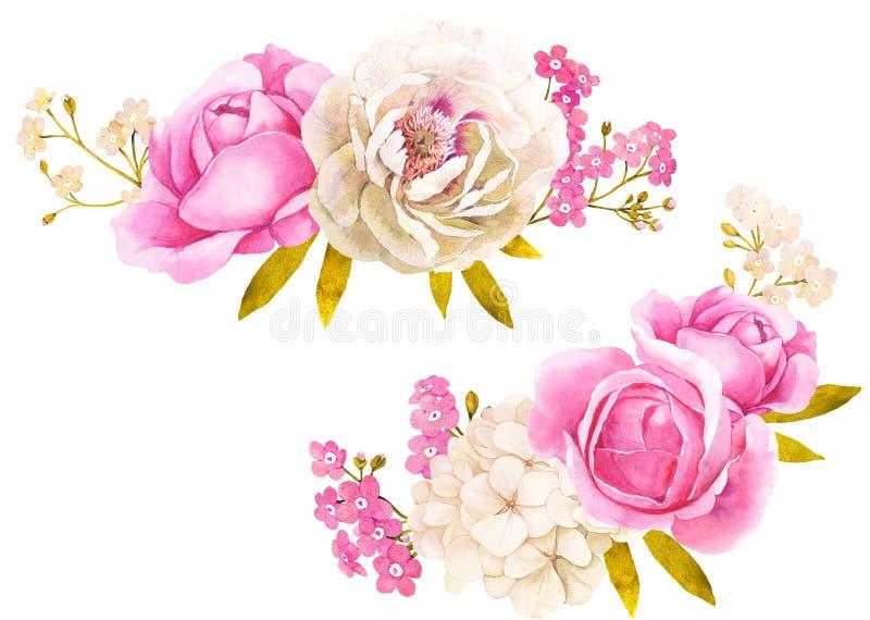 Mazzo bianco rosa del fiore dell'acquerello per la decorazione di nozze illustrazione di stock