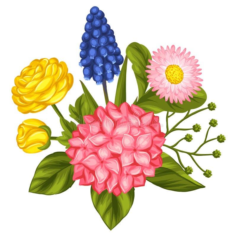 Mazzo con i fiori del giardino illustrazione vettoriale