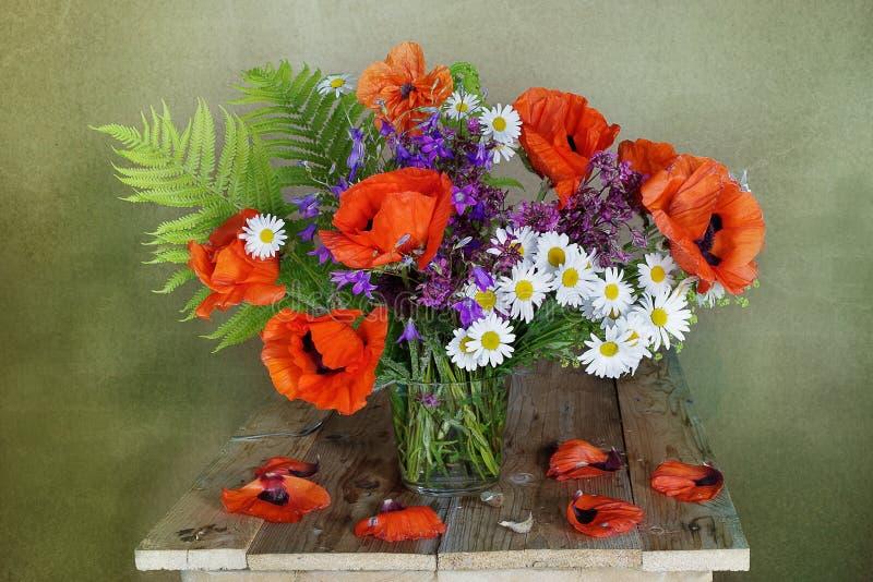 Mazzo con i papaveri rossi in un vaso isolato su un fondo verde fotografie stock libere da diritti