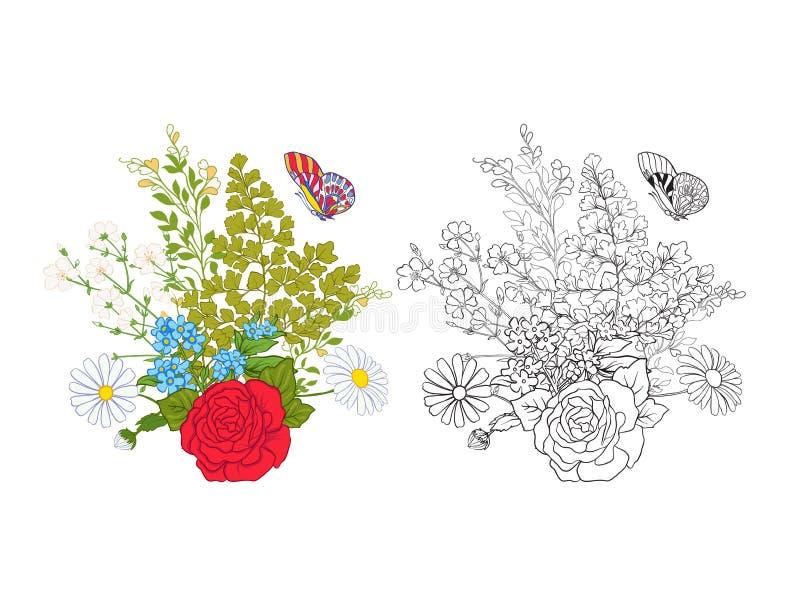 Mazzo con le rose e le margherite Modello europeo tradizionale royalty illustrazione gratis