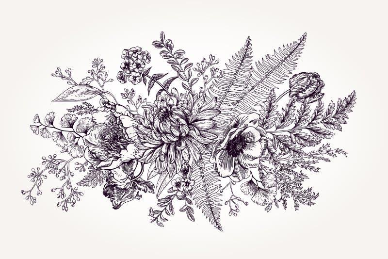 Mazzo con un giardino con i fiori illustrazione di stock