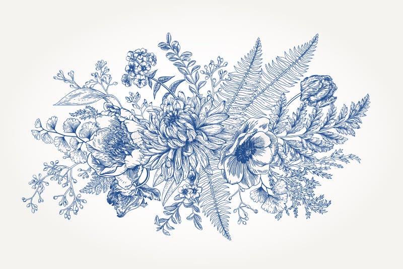 Mazzo con un giardino con i fiori royalty illustrazione gratis