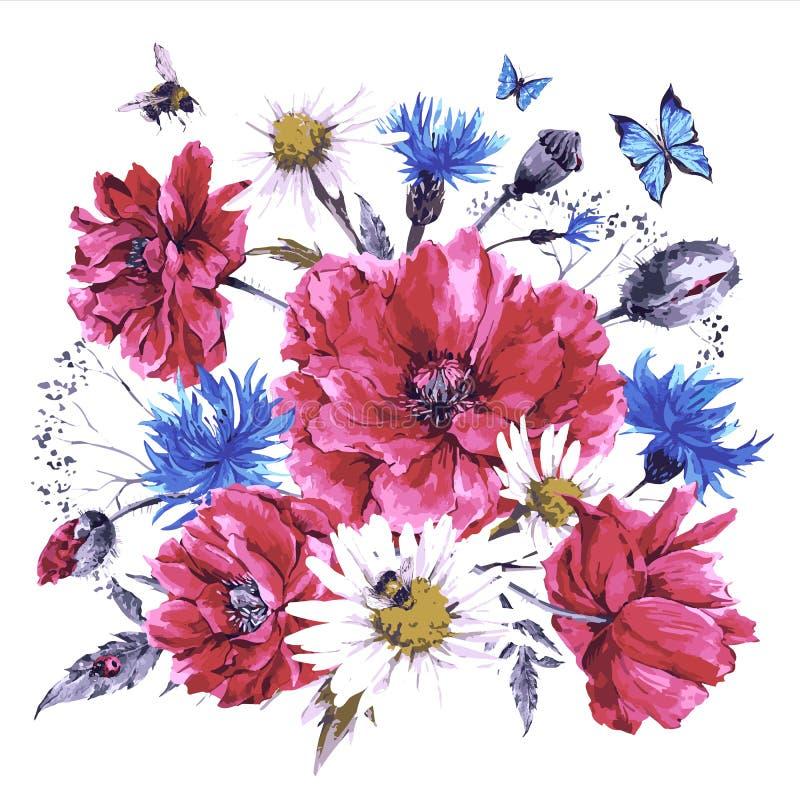 Mazzo d'annata dell'acquerello dei wildflowers, papaveri illustrazione di stock