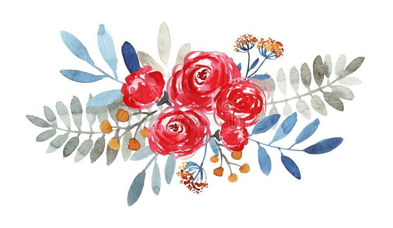 Mazzo decorato dell'acquerello fotografie stock libere da diritti