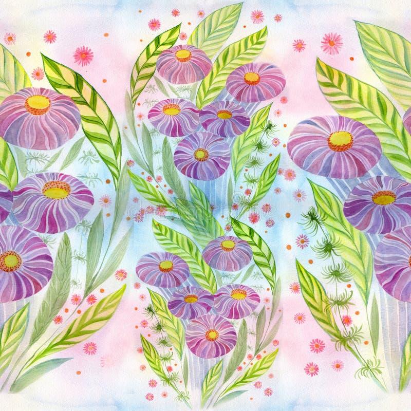 Mazzo dei fiori con le foglie, i fiori ed i germogli watercolor Reticolo senza giunte illustrazione vettoriale