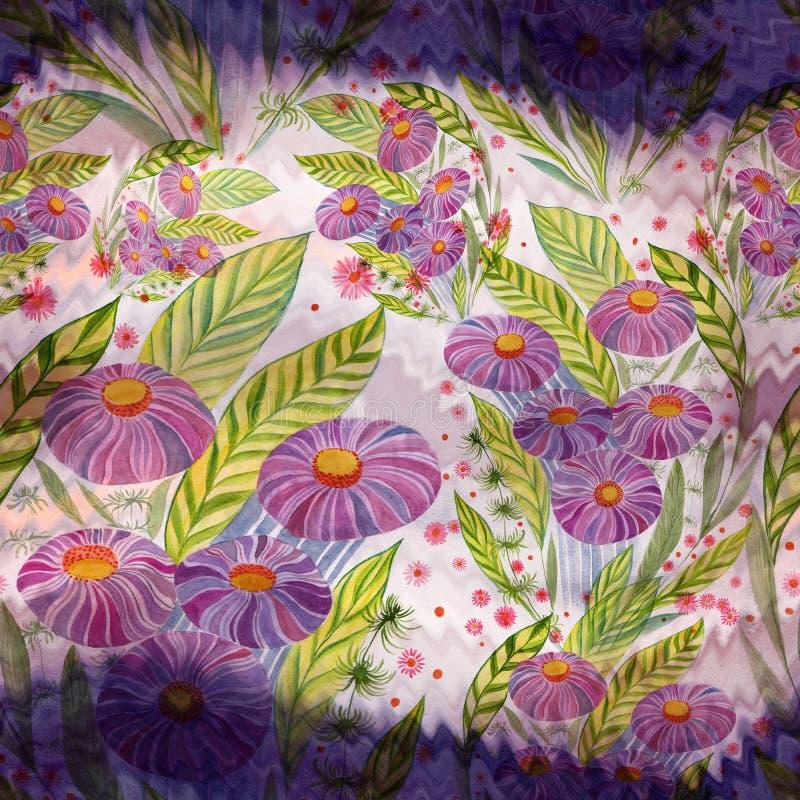 Mazzo dei fiori con le foglie, i fiori ed i germogli watercolor Reticolo senza giunte illustrazione di stock