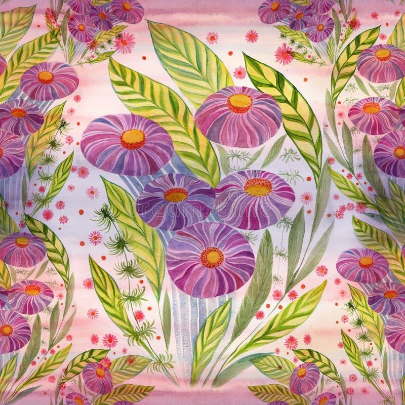 Mazzo dei fiori con le foglie, i fiori ed i germogli watercolor Reticolo senza giunte royalty illustrazione gratis