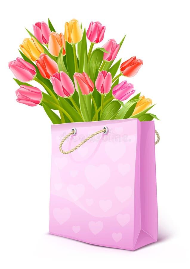 Mazzo dei fiori del tulipano nel sacchetto illustrazione di stock