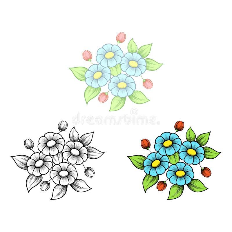 Mazzo dei fiori della margherita quattro illustrazione di stock