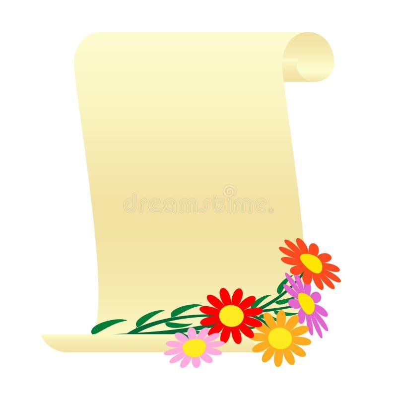 Mazzo dei fiori e di un rotolo illustrazione vettoriale