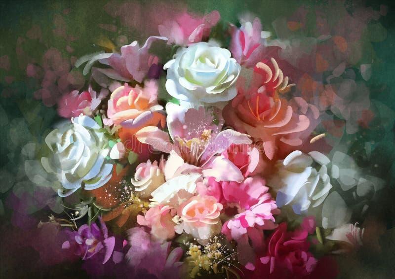 Mazzo dei fiori variopinti, illustrazione illustrazione vettoriale